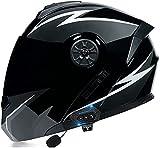 Motorbike Helmet Casco Bluetooth para motocicleta Modular, abatible hacia arriba cara completa visera solar doble casco motocicleta con certificación DOT/ECE cascos de motocross sistema de comunicaci