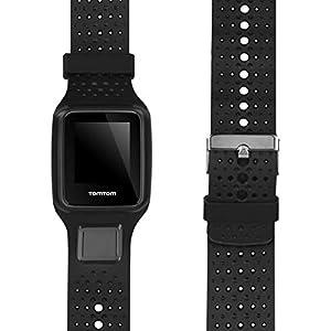 Correa de reloj de silicona de repuesto para TomTom Runner 1/Multi-Sport/Golfer 1 – Correa de seguimiento de fitness con cierre (negro)