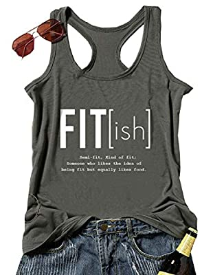 Fitish Semi-fit Kind of Fit Tank Tops Funny Letters Print Workout Racerback Camis for Women