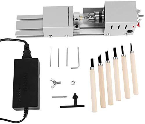 SEAAN Mini Torno de Metal, Herramienta giratoria para Manualidades de carpintería de Bricolaje, Pulido, Pulido, cortadora, Multifuncional, mecanizado CNC para Mesa