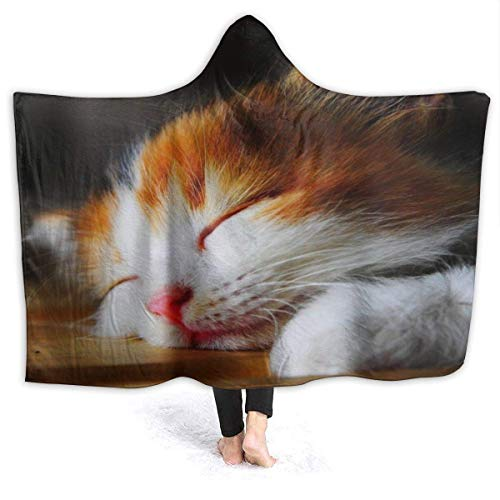 Shenguang Wearable Hoodie Decke Kitty Cat Hooded Throw Wrap Cape Umhang Bademantel...