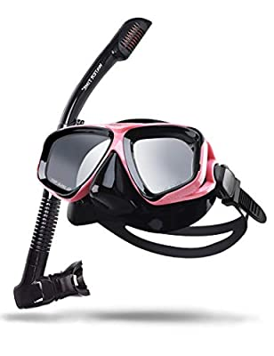 Watertime Snorkeling Package Set for Adults with Anti-Fog Coated Glass and Silicone Diving Mask (Pink&Black)