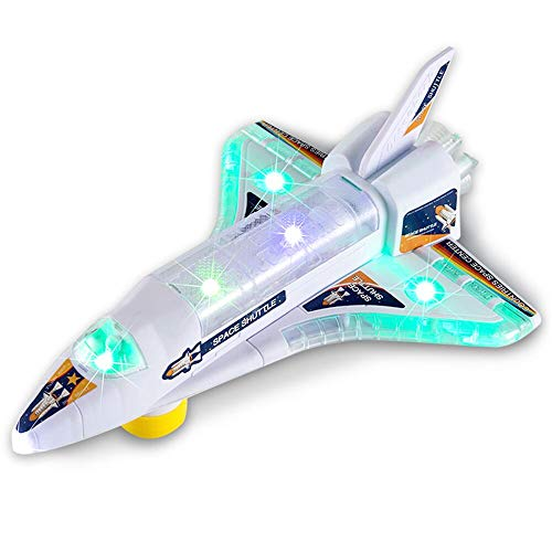 DeVan Bump and Go Electric Space Shuttle Airplane Toy with Flashing 3D Lights and Sounds