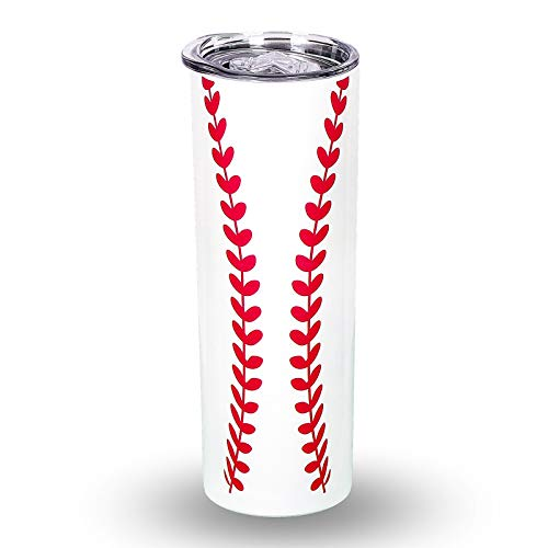 Baseball Skinny Tumbler Cup with Lids, 20oz Slim Coffee Mug Stainless Steel Vacuum Insulated Tumbler for Coffee Beverages Drinking Cup Sports Fans Gifts (baseball)