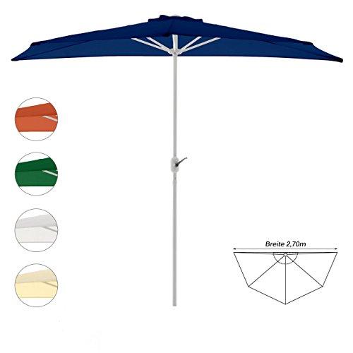 Nexos GM35094 Sonnenschirm Blau halbrund Ø 2,70 x 1,40m Wandschirm Balkon-Schirm mit Kurbel Polyester 160 g/m² Sonnenschutz, 2,7m