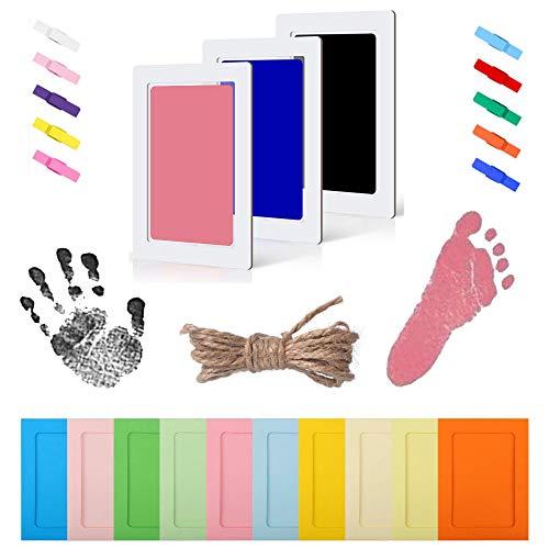 Stempelkissen Baby,Handabdruck Baby Bilderrahmen,Farbe für Fussabdruck Baby,Fußabdruck Baby Set,Baby Handabdruck,Baby Fußabdruck,Stempelkissen Baby Hand (Schwarz + Blau + Pink)