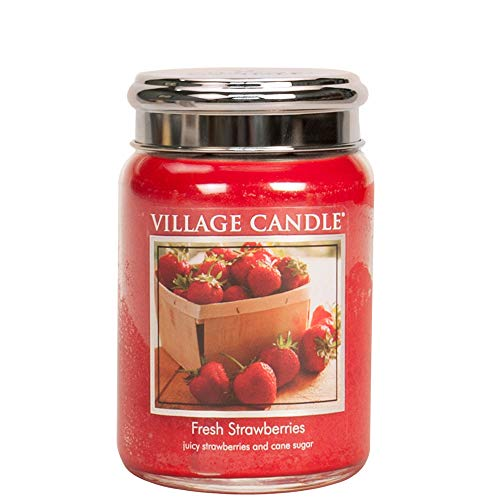 Village Candle - Candela dosa di Vetro 737g, Fragole fresche