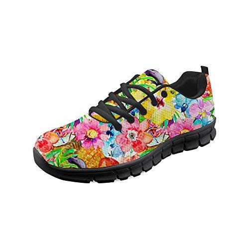 Wrail Unisex Schuhe Turnschuhe mit Motiv Laufschuhe Blumen Graffiti Bequem Sneaker Schnürer Fitness Outdoor Leichte Atmungsaktiv Sneaker Bunte Sportschuhe Freizeitschuhe Pink EU 39