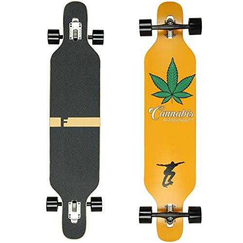FunTomia Longboard Skateboard Drop Through Cruiser Komplettboard mit Mach1 High Speed Kugellager T-Tool mit und ohne LED Rollen Flex 2 - Ahornholz