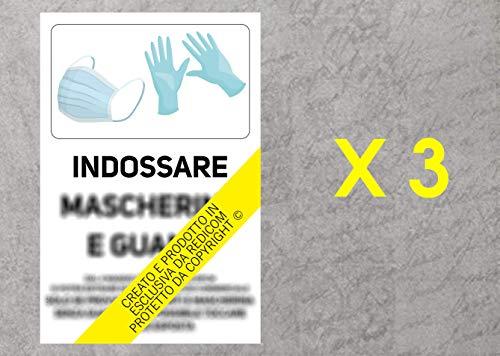 Cartello Covid 19'Obbligo Guanti e Mascherina in Esercizio Commerciale - 20x30 cm - 3 Pezzi - Adesivo per Interni - ETCOV53