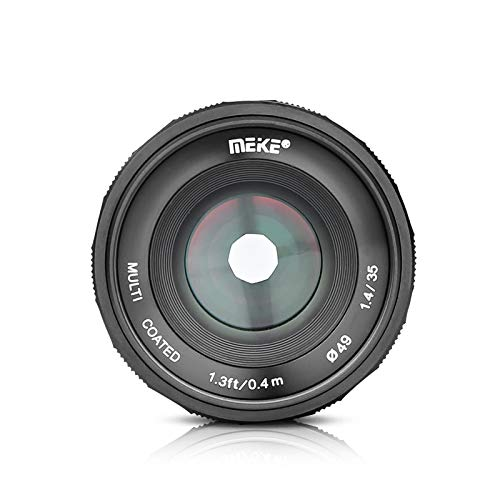 MEIKE 35mm F/1.4 Manual Focus Large Aperture Lens Compatible with Sony APS-C Mirrorless Camera Such as A6000 A6300 A6500