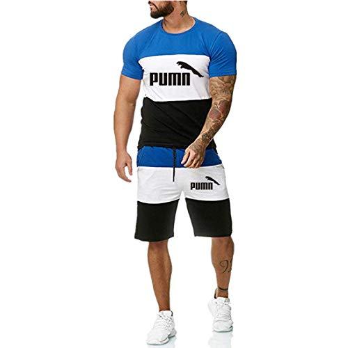 DREAMING-Camiseta superior de manga corta estampada para hombre de verano + Pantalones cortos Traje deportivo Traje de contraste de color de ocio al aire libre XXL