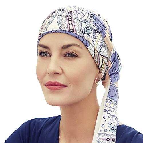 Christine Headwear Pañuelo Reversible Mantra Estampado Kaleidoscope o Liso en bambú Ultra Suave para Mujeres en quimioterapia