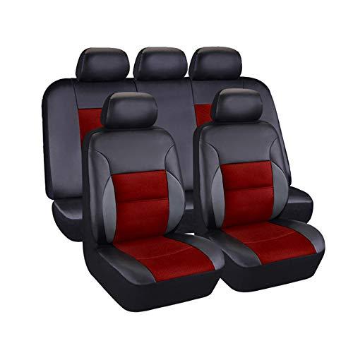 AUTO HIGH Auto-Sitzbezüge Set Universal - Schwarz Auto-Schonbezüge für die Vordersitze & Rückbank mit Airbag - Kunsleder Autositz Schutzbezug Komplett-Set, 11-teilig, TY1832 Schwarz & Rot