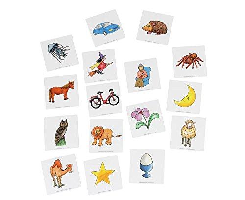 Betzold 87252 - Lese-Magnetbox Magnetische Anlautbilder, zum Alphabet, 37 Bildkärtchen Anlaute, 2 x 2 cm, auf Sortierfeld - Deutsch Sprachförderung DaZ Freiarbeiten
