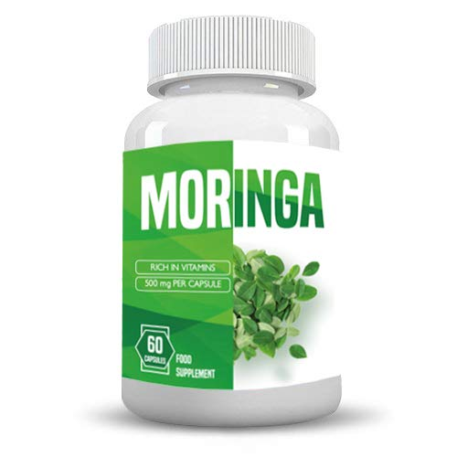 Moringa Capsules - 1000mg High Strength Moringa Leaf Extract Supplement with Vitamins & Iron (60 Capsules)