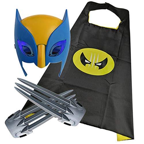 HYE Lobo Garras de Juguete, 2 pcs 1 par 1 par de Garras de Wolverine con máscara de niños Garras de plástico Cosplay Disfraz Acción Figura Wolf Paws Props X-Men Logan 20cm