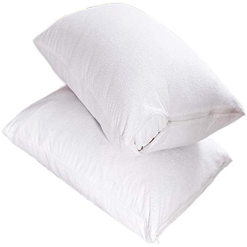 Aaf Textiles Waterproof Pillow Protectors Pair Cotton Non Noisy Terry Towelling 100% Waterproof with Zip Cases Cover Anti Allergy Dust Mite,Bacterial (Pillow Protector Zipped)