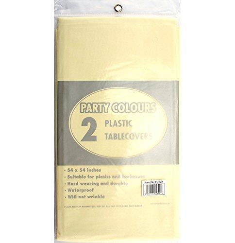 Plastique Ivoire 2 x nappes 137 x 137 cm de table de haute qualité facile à nettoyer-livraison gratuite