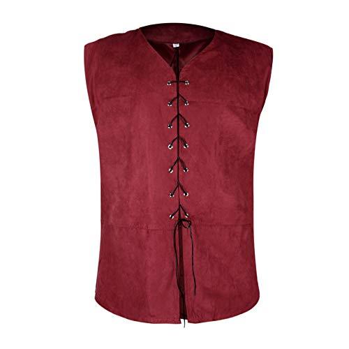 Men's Medieval Vest 18th Century Sleeveless Waistcoats Gothic Steampunk Dublets Renaissance Chevalier Pirate Costume (L, Wine Red)