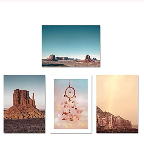 Zhaoyangeng Nordic Poster Nature Monument Valley Wall Art Canvas Schilderij Prints Veer Landschap Foto's voor Woonkamer- 50X70Cmx4 Geen Frame