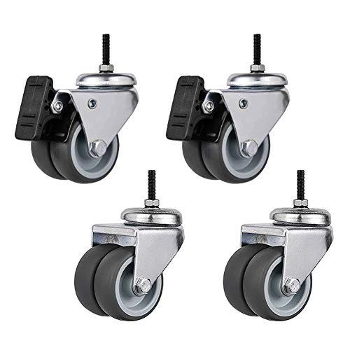 Casters 2-Zoll-Universalräder, Geräuscharme Gummiräder, Bremsrollen, 150 Kg / 4 Gewicht, Verschleißfest Und Kompressionsbeständig, Arbeitssparend, Pull-Pull, Vier In Einer Packung.