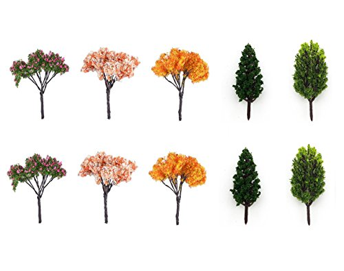 BeautyMood 10Pcs Miniature Fairy Garden Tree Plant Ornamentm, Miniature Dollhouse Pots Decor Moss Bonsai Micro Landscape DIY Craft Garden Ornament