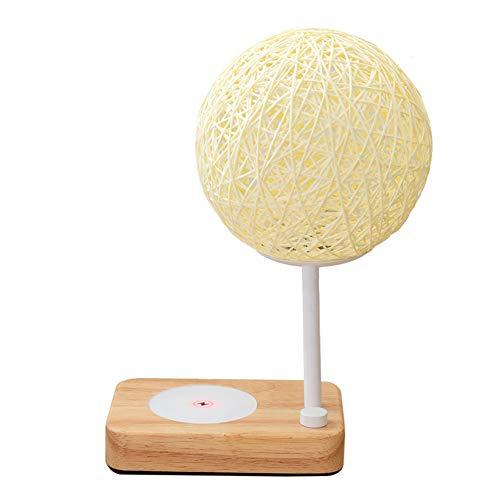 Lámpara de cabecera de Carga inalámbrica Nordic Creative LED Rattan Wicker Ball Lámparas de Mesa Atenuación Continua Luz de Escritorio de Lectura Ajustable para Sala de Estar Dormitorio Estudio