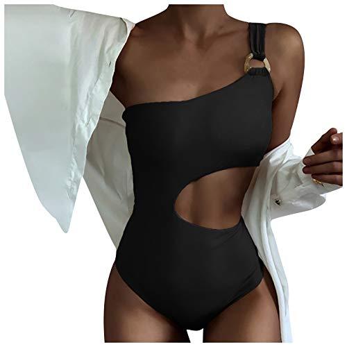 YANFANG 2021 Bikini Traje De BañO Una Pieza Color SóLido Bikinis BrasileñOs Tanga Mujer Sexy BañAdor Estampado Leopardo Talle Bajo Sentido Femenino Sin Cintura Un Hombro Two-Co