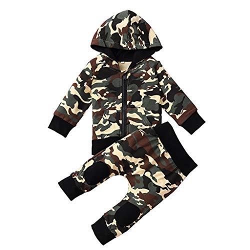 INLLADDY 2 stücke Kleinkind Jungen Kleidung Set Camouflage Jacke Tops + Hosen Outfits Mantel Camouflag 12-18Monate