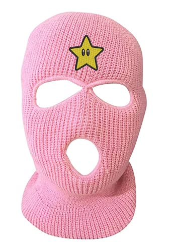Star Ski Mask Adult Three Hole Mask Embroidered Full Face Cover Knitted Beanie Warm Graphic Balaclava (Light Pink)