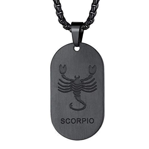 FaithHeart Erkennungsmarke Sternzeichen Halskette Herren Skorpion ketteanhänger Edelstahl mit 55cm+5cm Kette