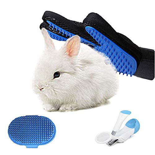 Tfwadmx Bunny Grooming Kit, Rabbit Grooming Glove, Rabbit Brush with Nail Clipper Pet Hair Remover for Guinea Pig Chinchilla