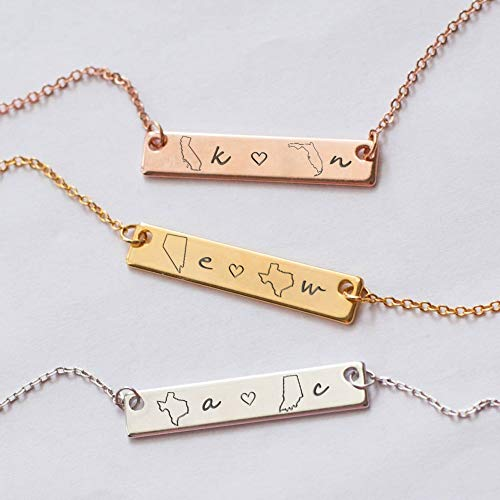 ProJewelry Personalized State Necklace, Long Distance Relationships Gift for Best Friend Custom Engraved State Map Bar Necklace Customized Friendship Gift