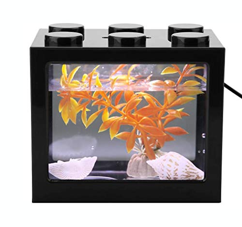 Mini Cube Fish Tank, stapelbaar aquarium Bouwsteen Design Fish Tank Decoratie Ocean Micro-Landscape Box USB LED Light Lamp Fish Tank Desktop voor Box Office Tea Table Decor,Black