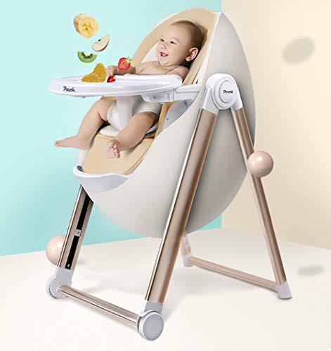 AIMLEIE Kinderhochstuhl, Portable Hochstuhl, Kleinkind Booster Seat, Baby-Fütterungsstuhl mit Tablett, Rad & Kissen
