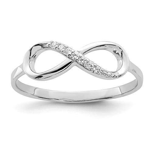 925 Sterling Silver Cubic Zirconia Cz Infinity Band Ring Size 8.00 Fine Jewelry For Women Gifts For Her