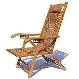 SjYsXm-tumbonas Acogedora Silla de Playa Patio de la Piscina Piscina Plegable Sillón reclinable Ajustable Sillón de bambú Silla de Descanso para Interiores o Exteriores (Color : Bamboo A)