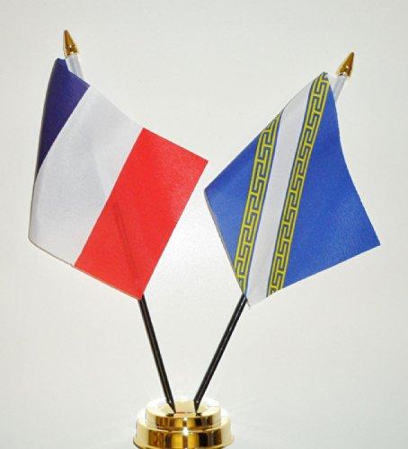 1000 Flags France et Champagne-ardennes l'amitié Drapeau de table écran 25 cm (25,4 cm)