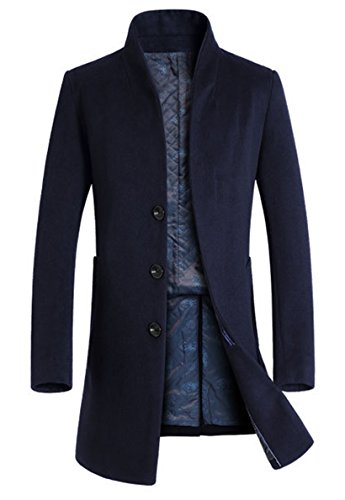 Vogstyle Men's Trench Coat Long Wool Blend Slim Fit Jacket Overcoat Size Thicken Style M,navy Blue,Medium