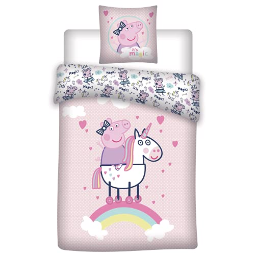 Disney Peppa Pig - Housse de Couette Licorne - Parure de lit Coton