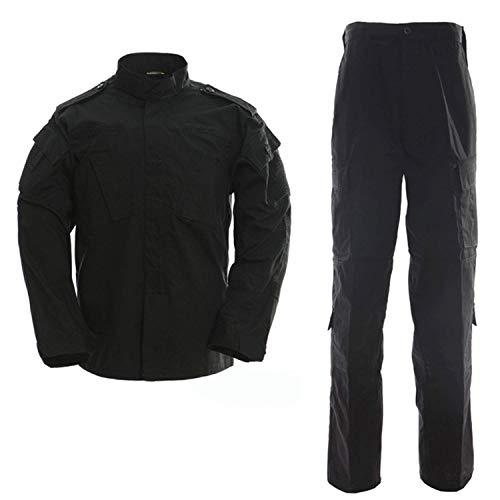 LANBAOSI Men's Tactical Jacket and Pants Military Camo Hunting ACU Uniform 2PC Set Army Multicam Apparel Suit (Small Plus, Black)