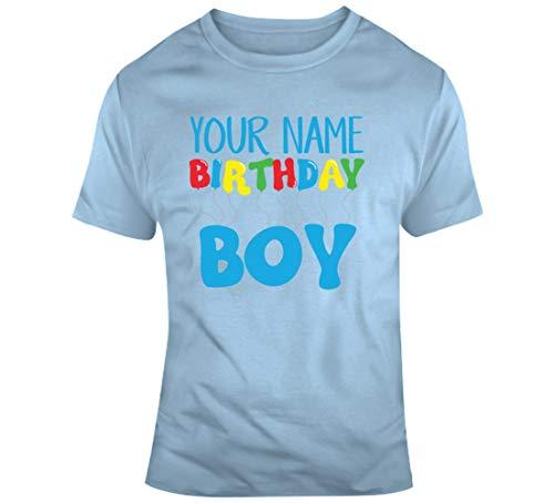 Tu nombre cumpleaños niño edad nacimiento año fecha nacimiento cumpleaños personalizado camiseta azul claro