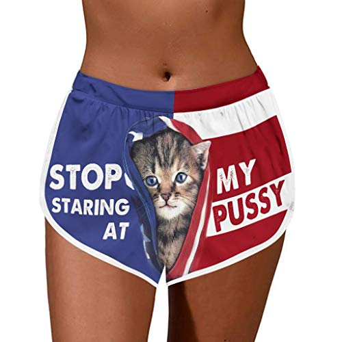 Dosoop Women Casual Summer Sports Shorts Cat Print Lady Stripe Gym Workout Running Athletic Yoga Quick Dry Beach Shorts