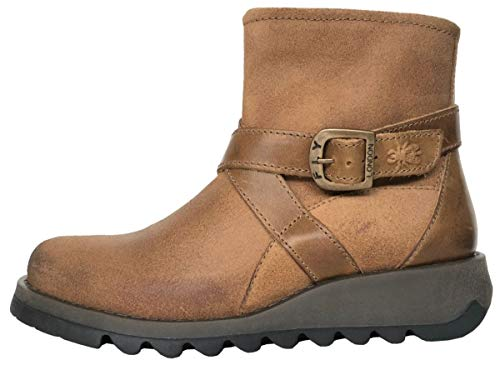 Fly London Sake Tan Camel Leather Womens Ankle Boots