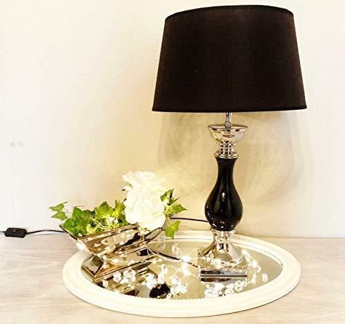 DRULINE Tischlampe Lampe Nachttisch leuchte mit Schirm Klassische Dekoration fürs Schlafzimmer | Wohnzimmer | Esszimmer| aus Keramik Groß | L x B x H 35 x 35 x 60 cm | Weiß Silber Schwarz