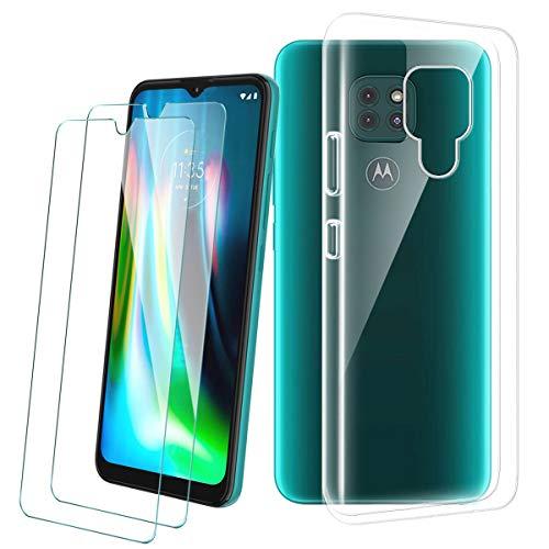 PZEMIN Cover per Motorola Moto G9 Play/Moto E7 Plus Custodia + 2X Film di Vetro Temperato - Caso Silicone Trasparente Protettiva TPU Bumper Leggero Morbido Shell Case (6.5', Clear)
