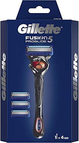Gillette Fusion 5 ProGlide Rasierer Herren mit Trimmerklinge für Präzision und Gleitbeschichtung, Rasierer + 4 Rasierklingen