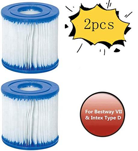XIAOL Filterkartusche für Bestway Typ VII & Intex D.Whirlpool oder Spa, Zubehör, Filterkartuschen,einfach zu benutzen, aufblasbarer Poolfilter, (2 pcs)