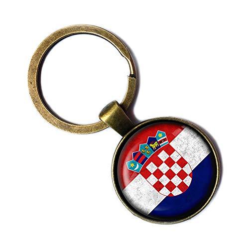 Croatia Croatian Flag Kroatien Kroatische Flagge Keychain Bronze Schlüsselanhänger